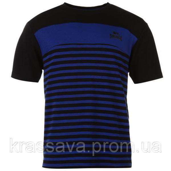 Футболка мужская очень плотная Lonsdale, оригинал, черно-синяя, XL