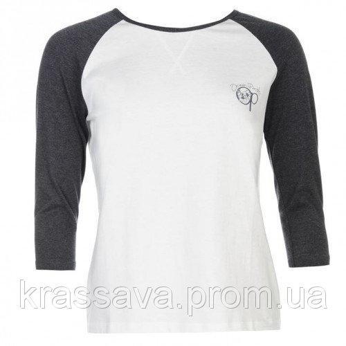 Реглан женский Ocean Pacific, оригинал, бело-серый, XL/16/50, рукав три четверти, лонгслив