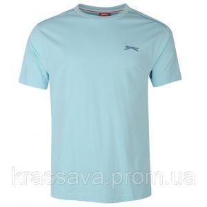 Фото Мужская футболка, майка, поло Футболка мужская Slazenger, оригинал, голубая,  XL/52