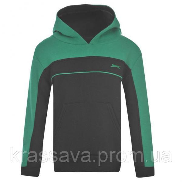 Толстовка для мальчика на флисе Slazenger, оригинал, черная с зеленым, 5-6 лет/110-116 см/XXSB