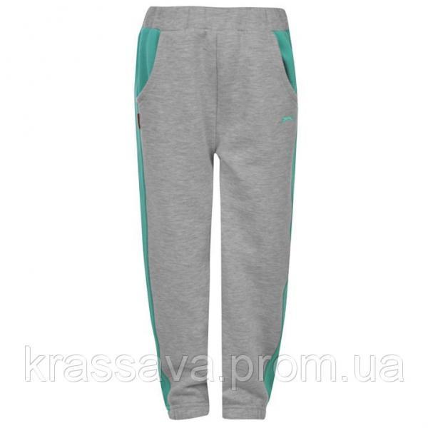 Спортивные штаны для мальчика на флисе Slazenger, оригинал, серая с мятой, 5-6 лет/110-116 см/XXSB