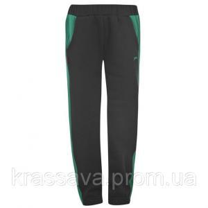 Фото Спортивные штаны для мальчиков Спортивные штаны для мальчика на флисе Slazenger, оригинал, черные с зеленым, 2-3 года/92-98 см