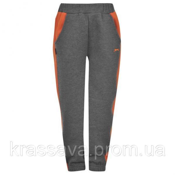 Спортивные штаны для мальчика на флисе Slazenger, оригинал, темно-серые с оранжевым, 2-3 года/92-98 см