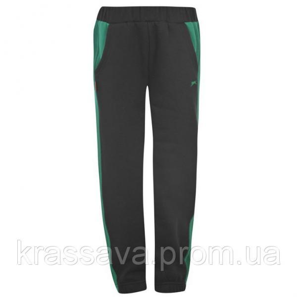 Спортивные штаны для мальчика на флисе Slazenger, оригинал, черные с зеленым, 5-6 лет/100-116 см/XXSB
