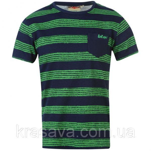 Футболка для мальчика Lee Cooper, оригинал, темно-синяя с зеленым, 11-12 лет/146-152 см/LB