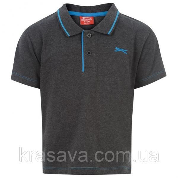 Поло для мальчика Slazenger, оригинал, темно-серое, 5-6 года, 110-116 см, футболка