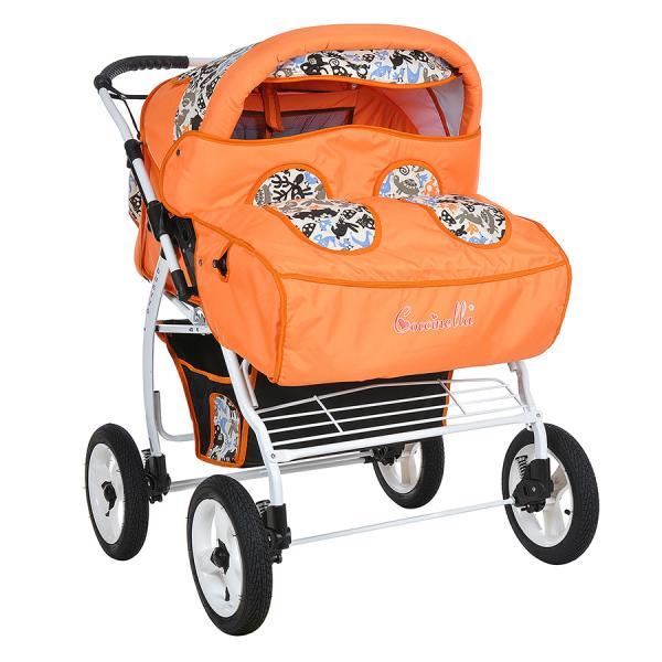 Детская коляска для двойни Kacper Duetto P Zoo (колёса надувные)