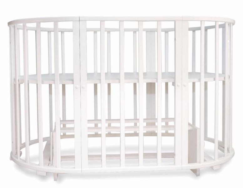 Детская кроватка-трансформер овальная Valle Mimi 6 в 1 маятник поперечный