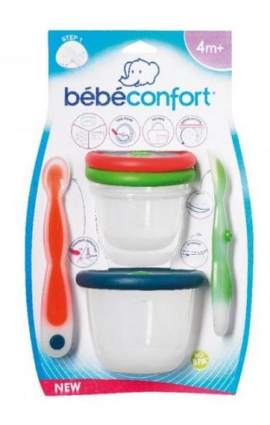 Набор детской посуды Bebe Confort 2 ложечки+2 контейнера
