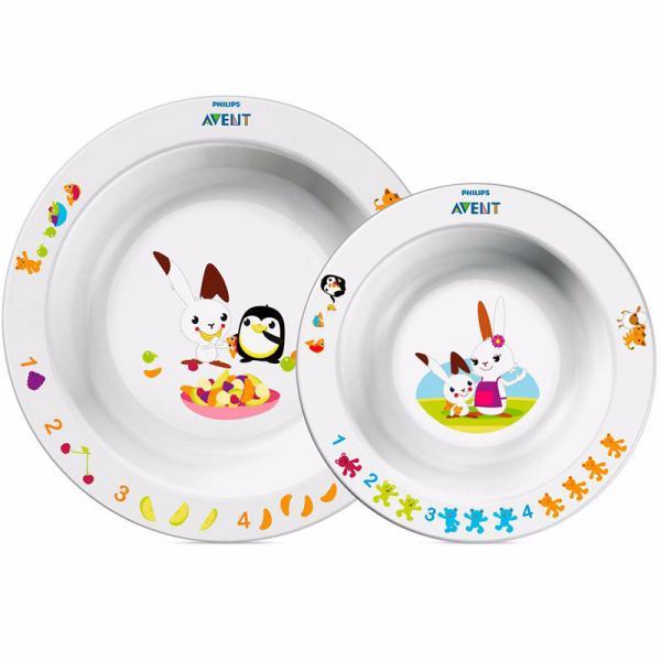 Набор из 2-х тарелок Philips Avent (глубокая тарелка большая+малая) 65640