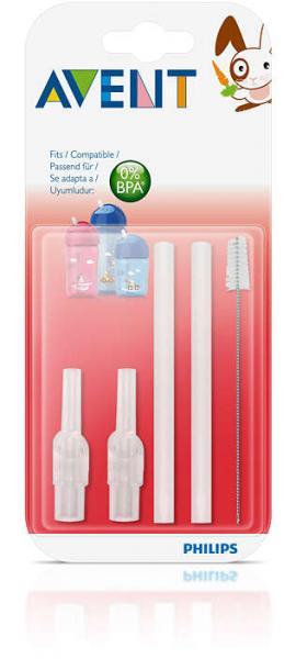 Набор сменных трубочек для питья Philips Avent SCF764/00 2шт. щеточка 1шт.