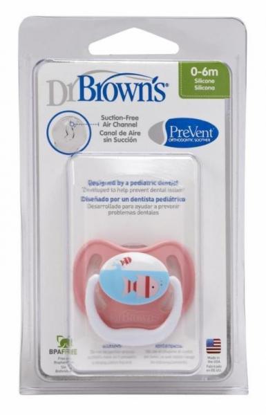 Пустышка Dr. Brown PreVent 0-6 мес. в футляре, розовая/рыбки 11301