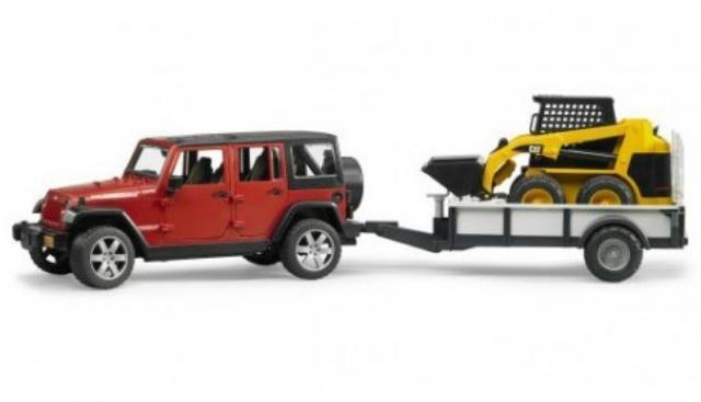 Внедорожник Bruder Jeep Wrangler Unlimited Rubicon c прицепом-платформой и колёсным мини погрузчиком