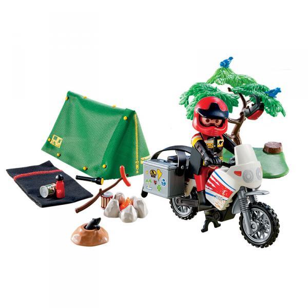 Детская игрушка Playmobil Каникулы: Мотоциклист и складная палатка
