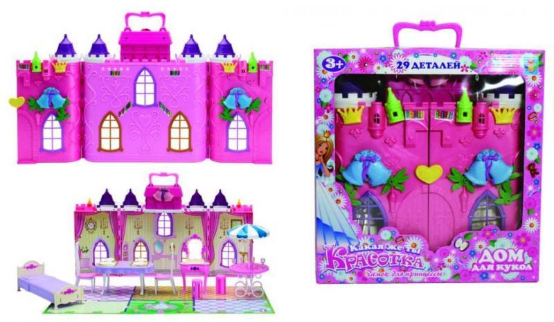 Замок для кукол 1toy Красотка-Колокольчик с мебелью Т56583