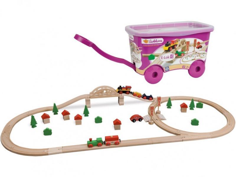 Игровой набор Eichhorn деревянная железная дорога в тележке