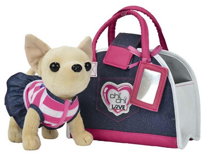 Плюшевая собачка Simba Чихуахуа Джинсовый стиль,с сумкой