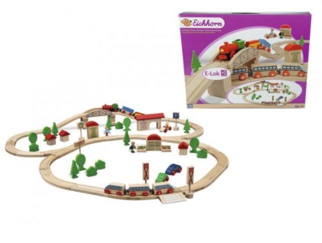 Игровой набор Eichhorn деревянная железная дорога с мостом и 2 поездами