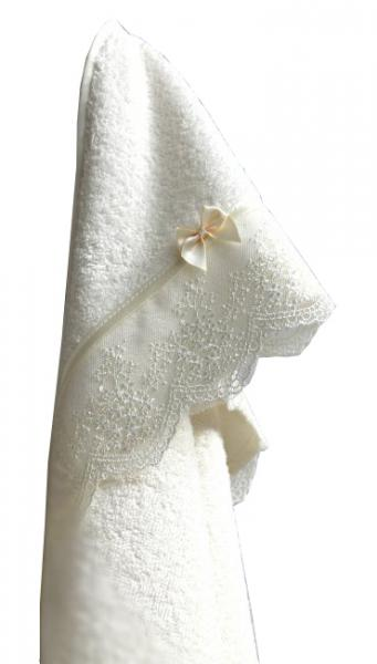 Махровая пеленка с уголком Lappetti Бантик 100х73см, цвет кремовый