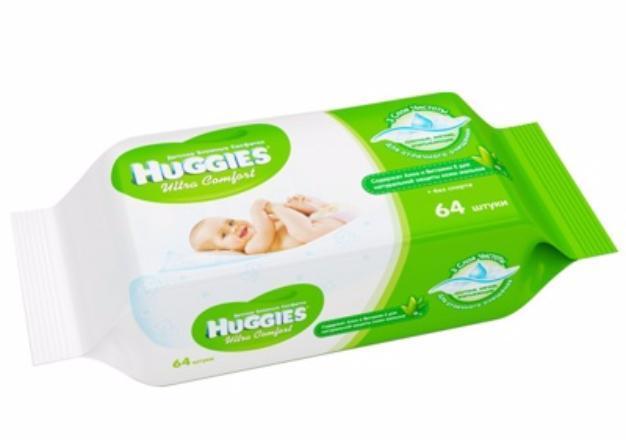 Салфетки влажные Huggies Ultra Comfort с алоэ 64 шт.