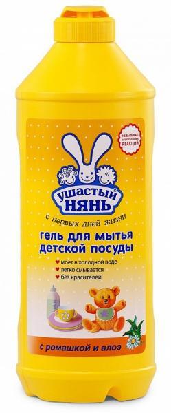 Гель Ушастый нянь для мытья детской посуды с ромашкой и алоэ 500 мл.