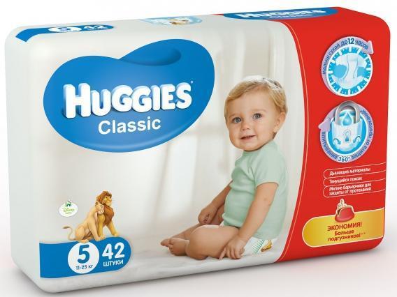 Подгузники Huggies Classic (5) джамбо 11-25 кг 42 шт