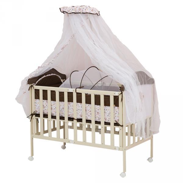 Кроватка SLEEPY COMPACT (Коричневый с бежевым, с медвежонком на торце) Babyhit