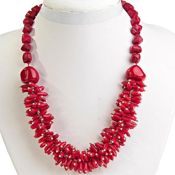 Ожерелье красный Коралл с ювелирными гвоздями светлое серебро, длина 50см