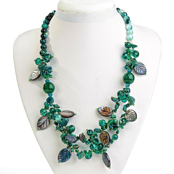 Ожерелье зеленый Агат, Хризопраз, Малахит, Нефрит, Перламутр, длина 59см