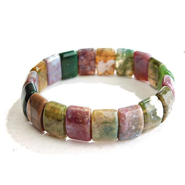 Браслет на резинке разноцветная Яшма прямоугольные камни