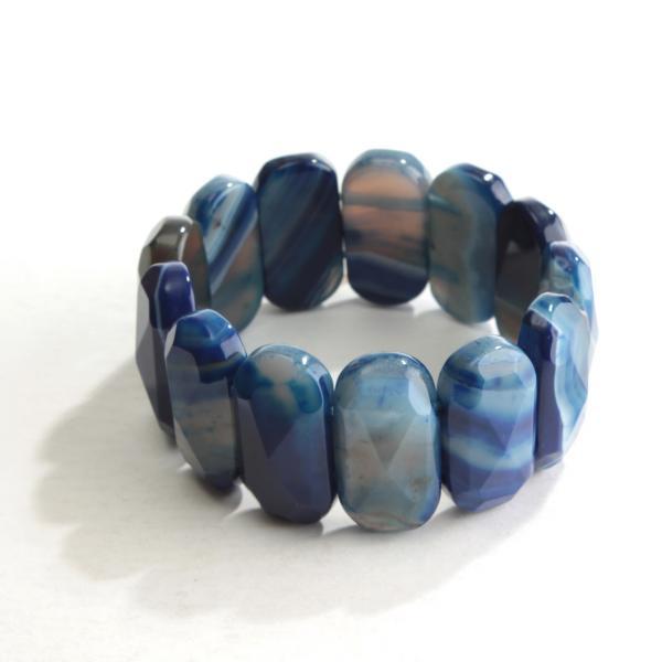 Браслет на резинке синий Агат граненный овальные камни