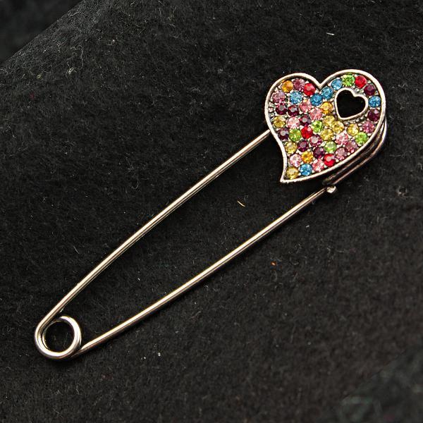 [20/10 мм] Брошь-булавка светлый металл  Сердце в сердце стразы