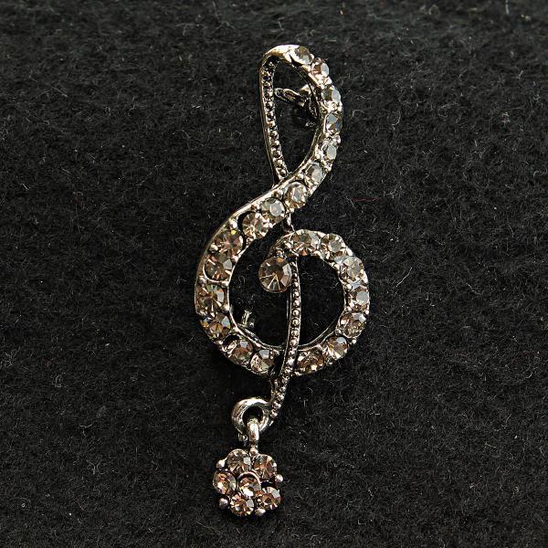 [18/40 мм] Брошь светлый металл со стразами скрипичный ключ с маленьким цветком на конце