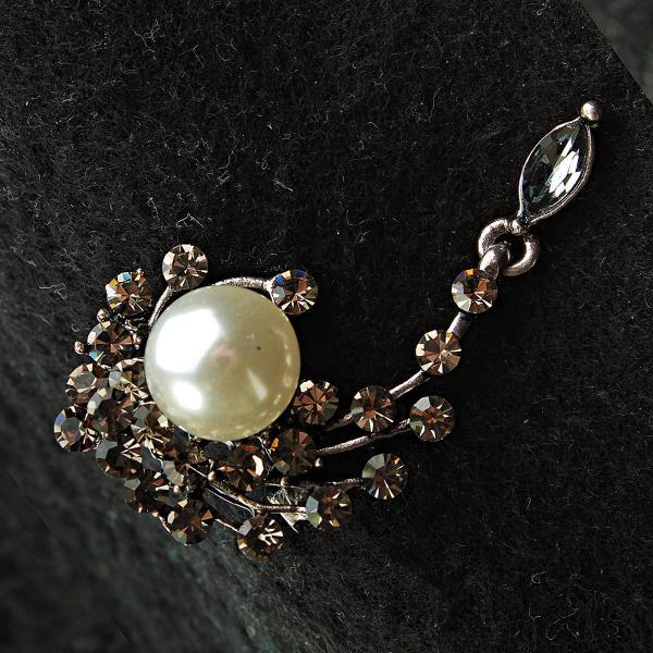 [25/50 мм] Брошь металл под капельное серебро элегантная со стразами и жемчужиной