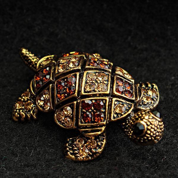 [20/40 мм] Брошь черепаха медного цвета со стразами золотистого, янтарного и черного цвета