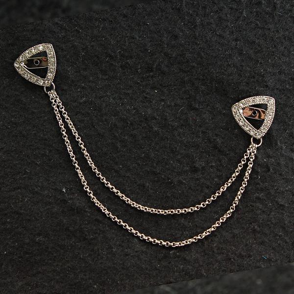 [18/160 мм] Брошь светлый металл треугольники в стразах на цепочке для кардиганов и воротничков