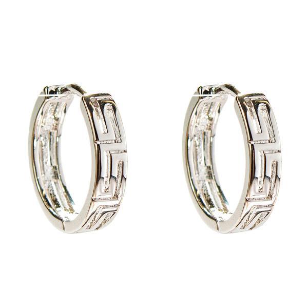 Фото Ювелирная бижутерия xuping jewelry (Хьюпинг), Серьги xuping jewelry (Хьюпинг) Xuping. Серьги круглые серебряного цвета с греческим узором