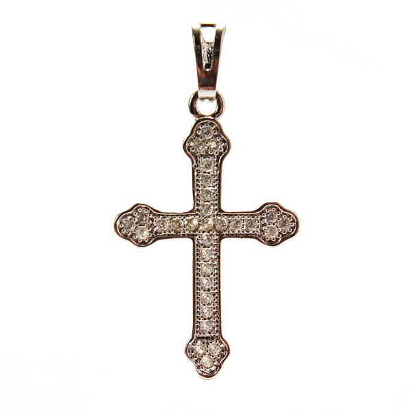 Xuping. Крестик серебряного цвета со стразами классический стиль