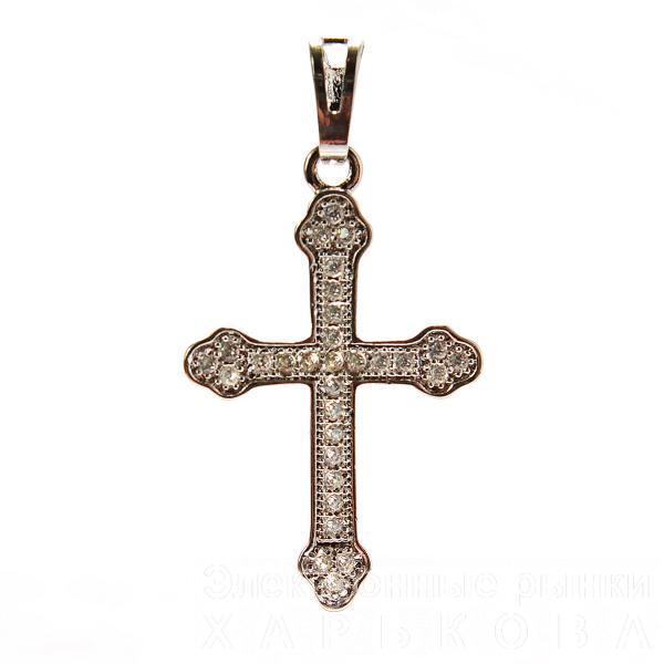 Xuping. Крестик серебряного цвета со стразами классический стиль - Крестильная одежда для новорожденных на рынке Барабашова