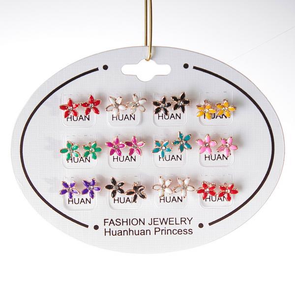 [10 мм] Серьги женские набор 12 шт разные цвета цветочки со стразами