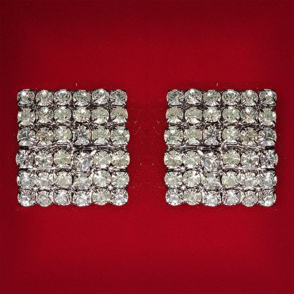 [25 мм] Серьги женские белые стразы светлый металл свадебные вечерние гвоздики (пуссеты) квадрат крупные