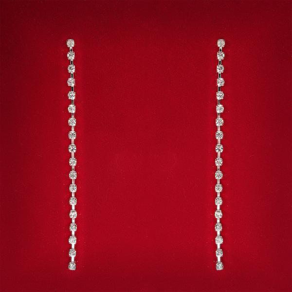 [90 мм] Серьги женские белые стразы светлый металл свадебные вечерние гвоздики (пуссеты) подвески 1 ряд длинные