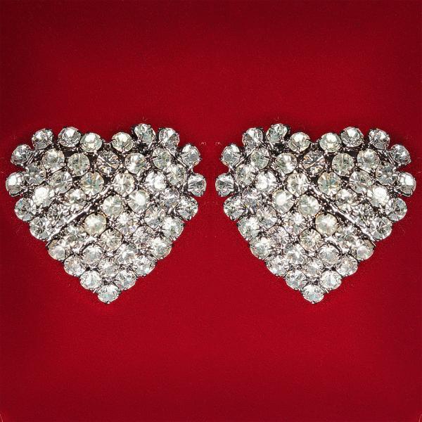 [20 мм] Серьги женские белые стразы светлый металл свадебные вечерние гвоздики (пуссеты) сердце среднее