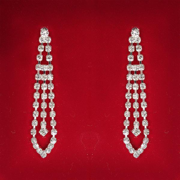 [50 мм] Серьги женские белые стразы светлый металл свадебные вечерние гвоздики (пуссеты) подвески 3 ряда длинные