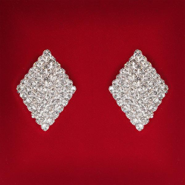 [28x20 мм] Серьги женские белые стразы светлый металл свадебные вечерние гвоздики (пуссеты) ромб средние