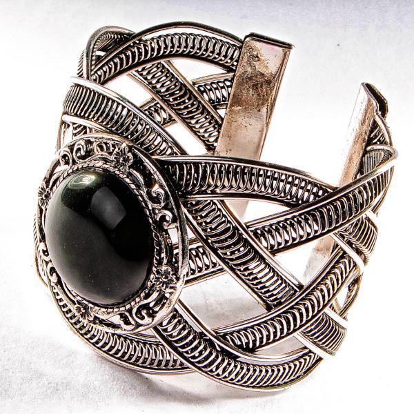 Браслет черный Агат широкий скобка  металл ажурная оправа круглая