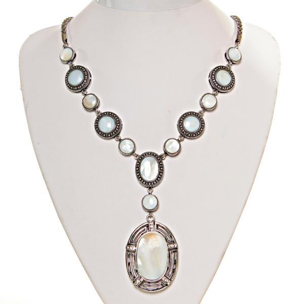 Колье с Перламутром в металле под серебро, круглые и овальные камни 10,12,20,35мм, длина 50см