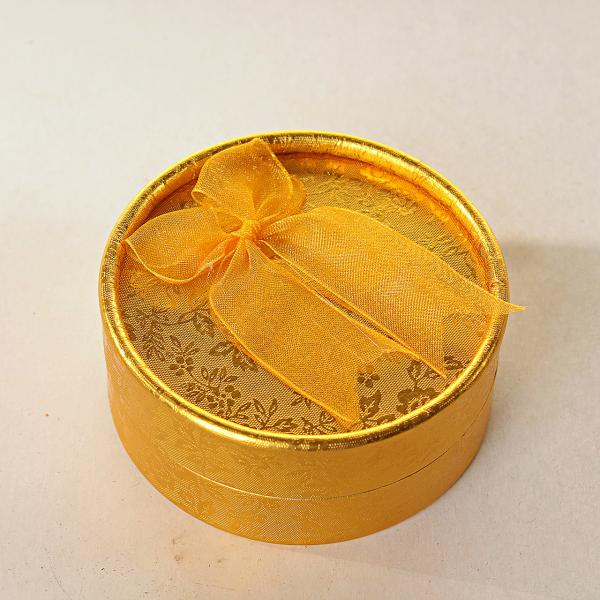 Подарочная коробочка для украшений круглая Золотая 12 шт.[8/8/4 см]