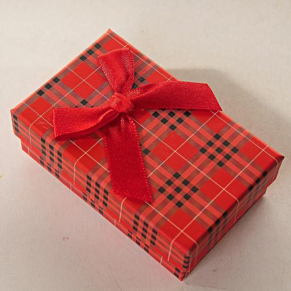 Подарочная коробочка для для сережек и колец прямоугольная Клетка Барбери средняя 24 шт. [8/5/3 см]