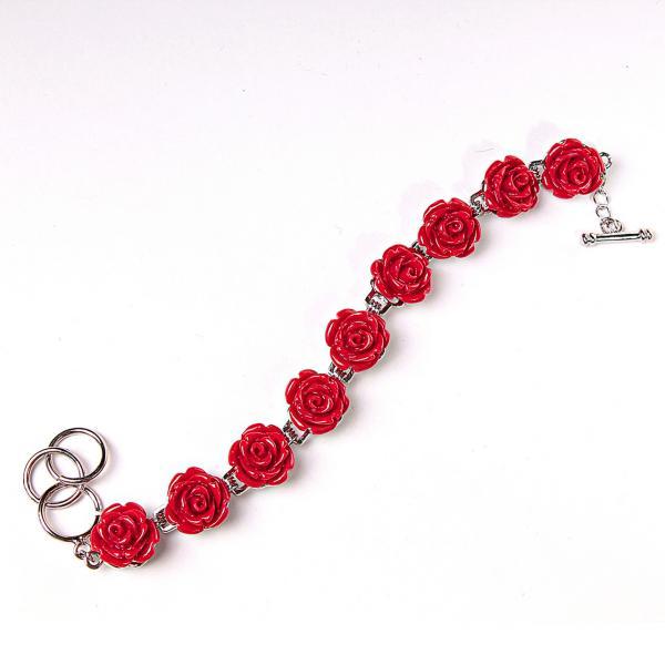 Браслет розы красные полимерная глина застежка Тогл